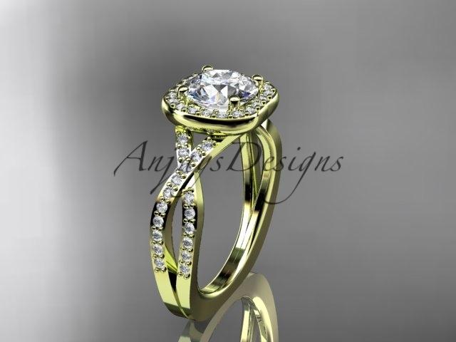 G393 yellow gold  diamond wedding ring  diamond engagement ring  forever brilliant moissanite  1