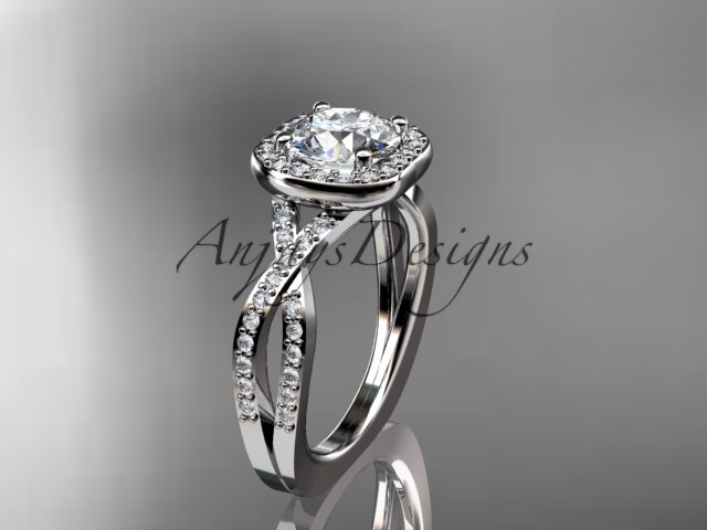 Platinum engagement ring with a Moissanite center stone ADER393