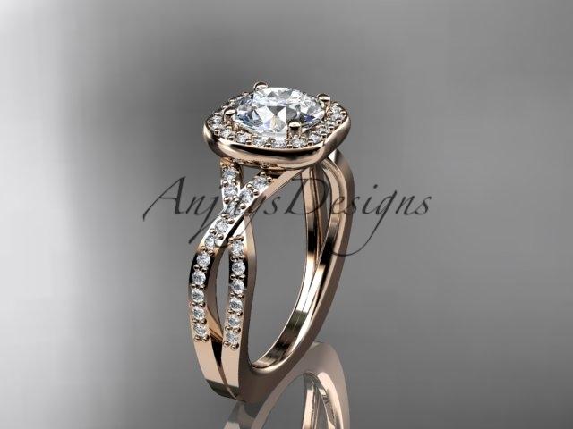 Ing393 rose gold  diamond wedding ring  diamond engagement ring  forever brilliant moissanite  1