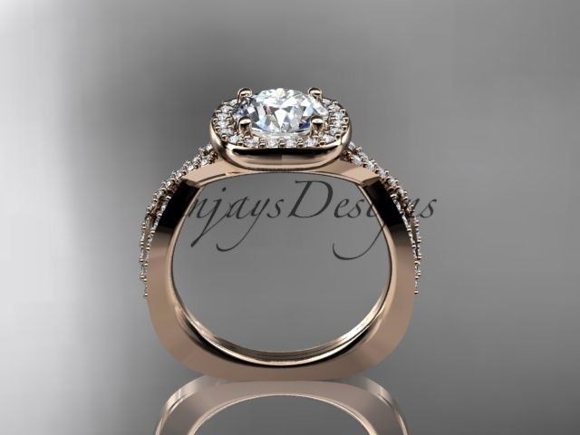 Unique engagement ring, diamond ring, 14kt rose gold engagement ring with a Mois