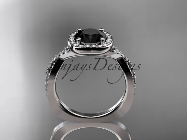 Unique engagement ring, white gold ring, black diamond ring, 14kt white gold eng
