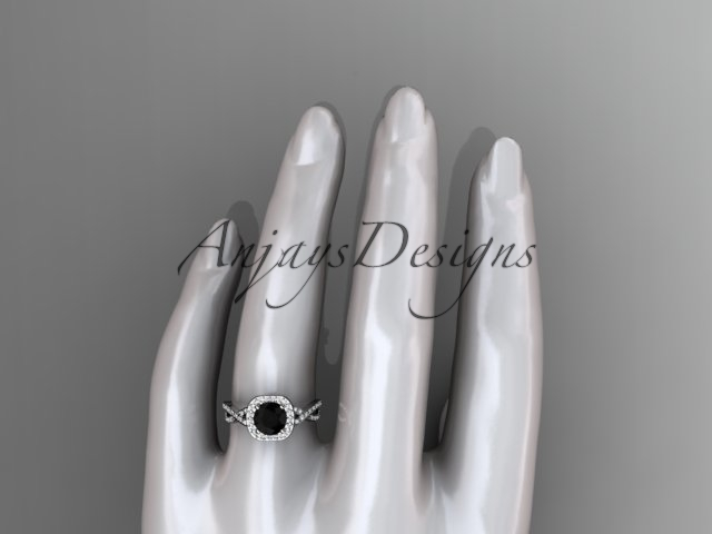 Platinum engagement ring  with a Black Diamond center stone ADER393