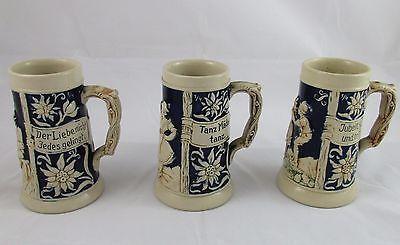 Set of 3 German Beer Mugs Salt Glazed Cobalt & Cream Marked & Numbered
