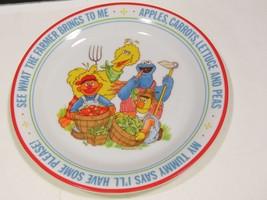 Sesame Street Newcor Going to Market Porcelain Plate Farmer Kids Childre... - $23.76