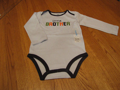 Boys baby infant Carters body suit one piece little brother 12M long sleeve Blue