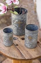 Metal Planters Brass Cross  Rustic Flower Pots Patio Herb Garden set of 3! - $98.01