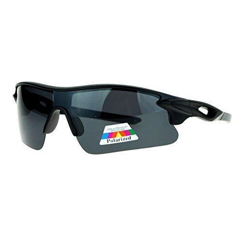 SA106 Anti Glare Polarized Lens Half Rim Baseball Warp Sport Sunglasses Black