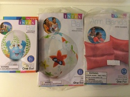 Intex Beach Pool Ball and Arm Band Set Lot of 3 pc - £14.58 GBP
