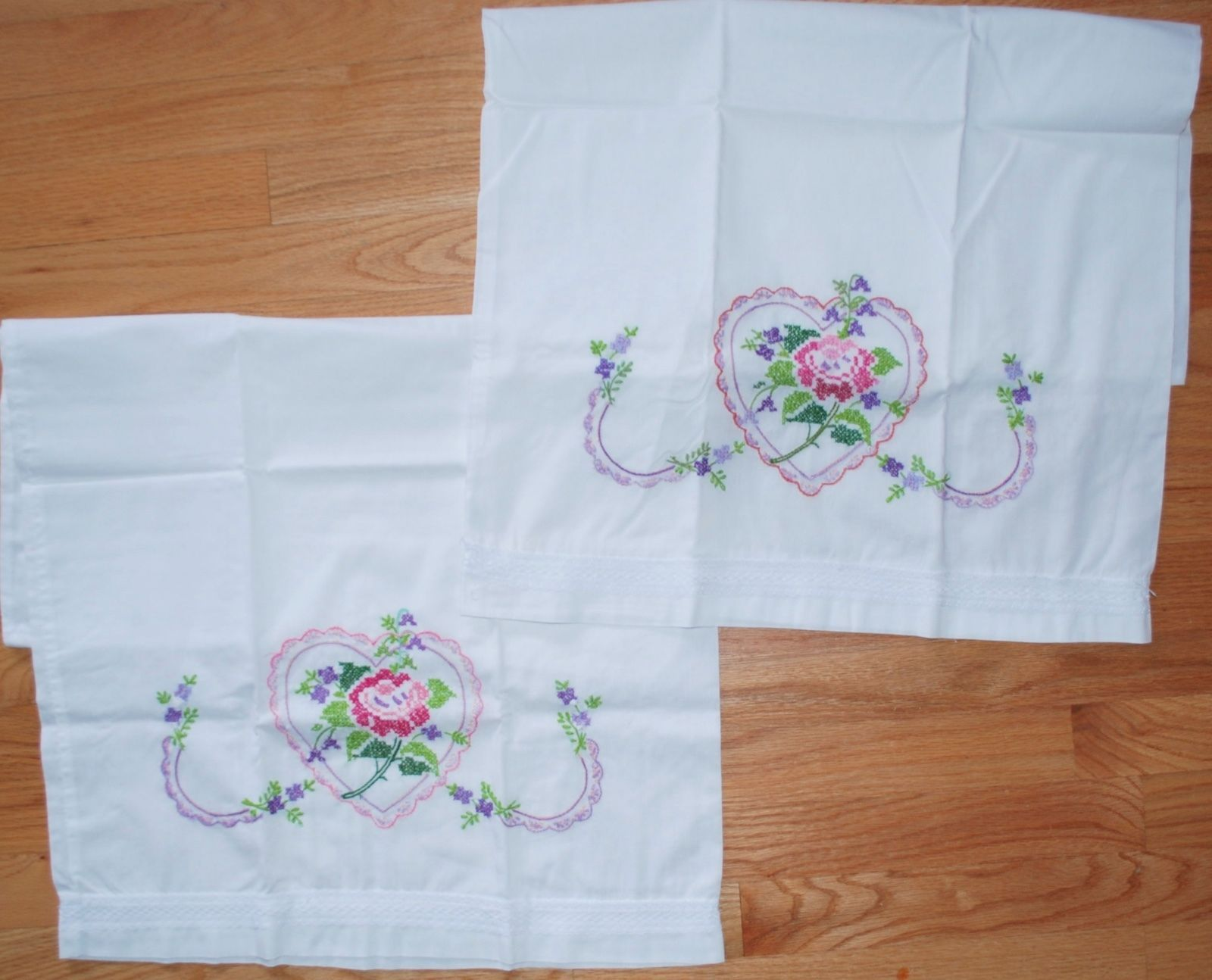 Set of 2 - Hand Embroidered Cross Stitch Pink Pillowcase Pair - Rose in Heart