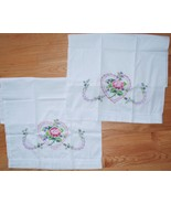 Set of 2 - Hand Embroidered Cross Stitch Pink Pillowcase Pair - Rose in ... - $29.69