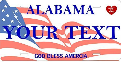 Alabama Flag Personalized Tag Vehicle Car Auto License Plate