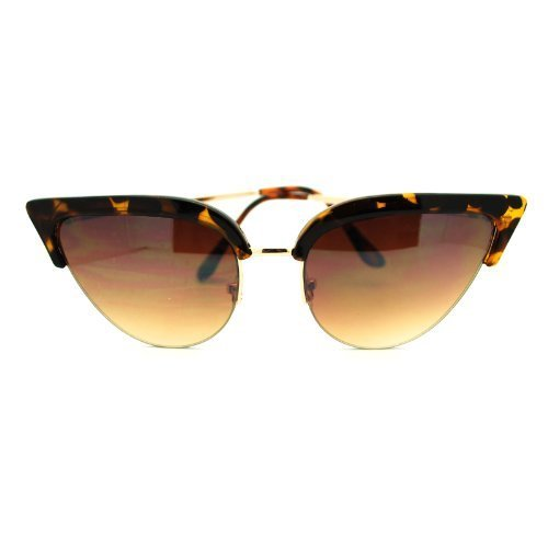 Womens Mod Half Rim Cat Eye 20s Retro Fashion Goth Sunglasses Tortoise Gold