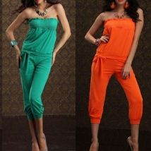 Womens Sexy Strapless Club Wear Jumpsuit Belt Calf LengthM 6-8 Fitted Pa... - $6.95