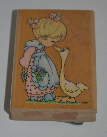 Precious Moments Rubber Stamp Girl with Duck A Joyful Noise