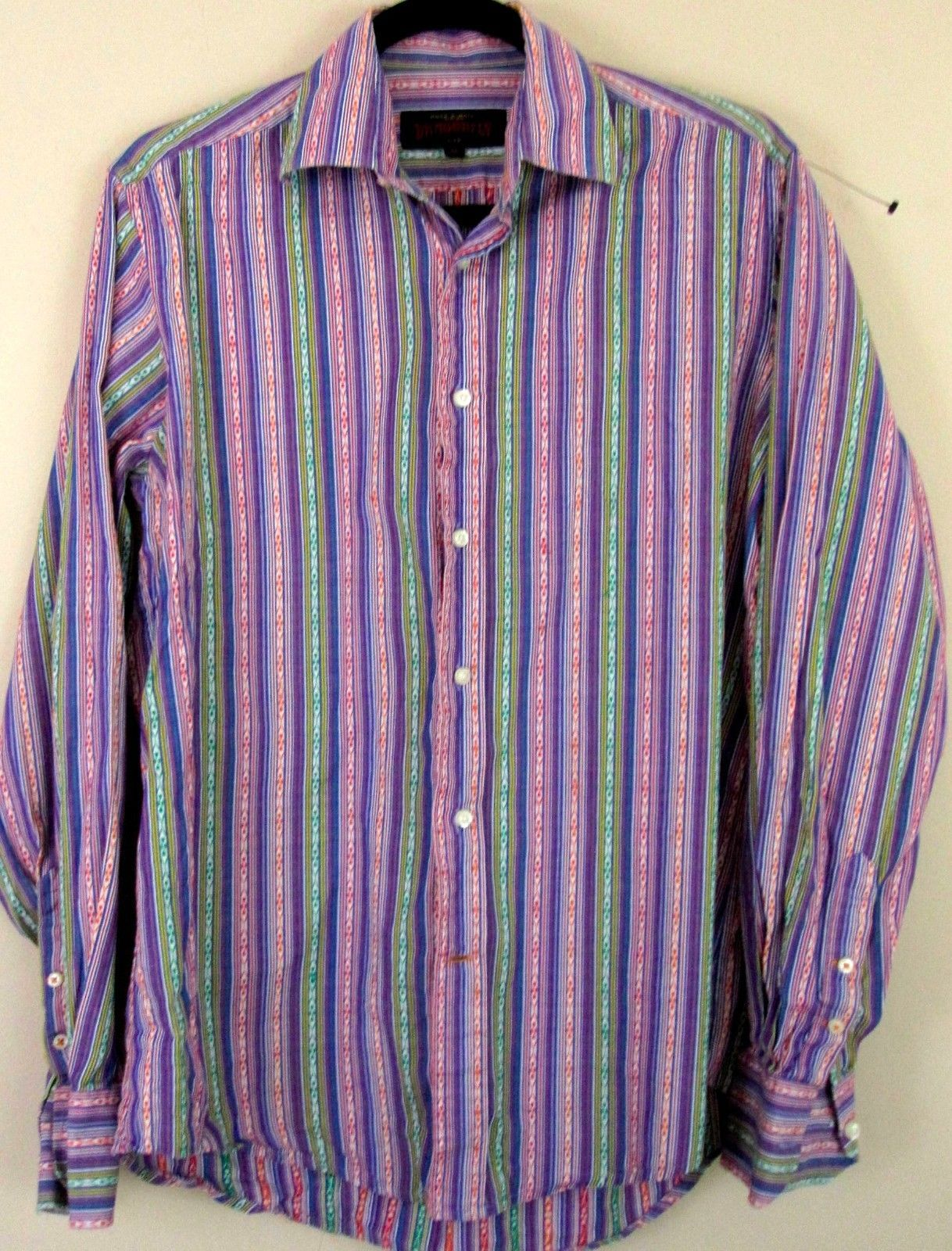Dragonfly Shirt Medium Purple multi Colored Striped Button Down Mens M