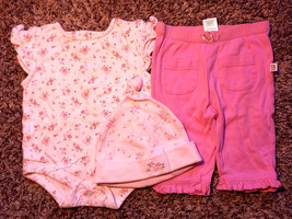 Girl's Size 3 M 0-3 Months 3 Piece Pink Floral Pooh Top, Old Navy Pants + Cap - $7.00