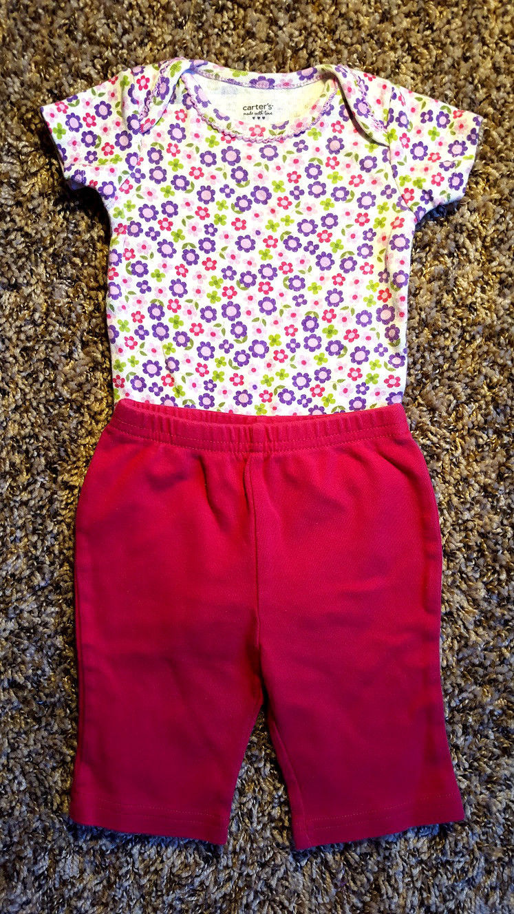 Girl's Size 3 M 0-3 Months 3 Pc Carter's White Purple Floral Top, Burgundy Pants