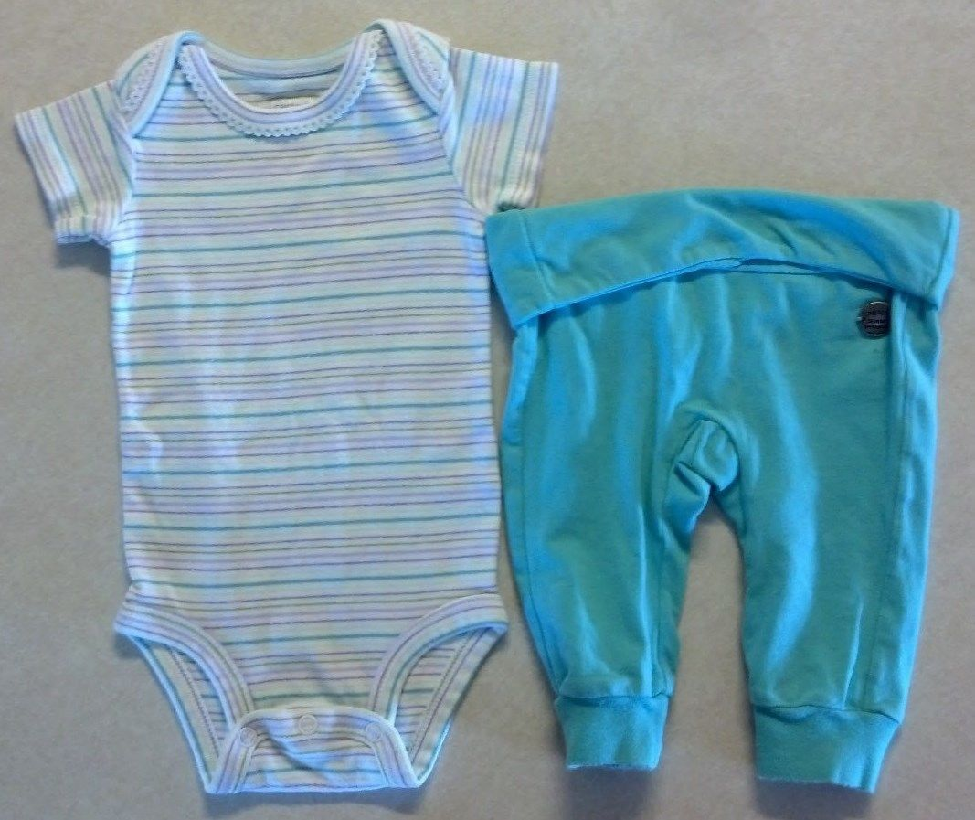 Girl's Sz 3 M 0-3 Month 2 Piece Outfit Striped Carter's Top & Blue Diesel Pants