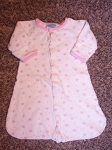 Girl's Size NB Newborn Bon Bebe White W/ Pink Butterflies Snap L/S Sleep... - $6.50