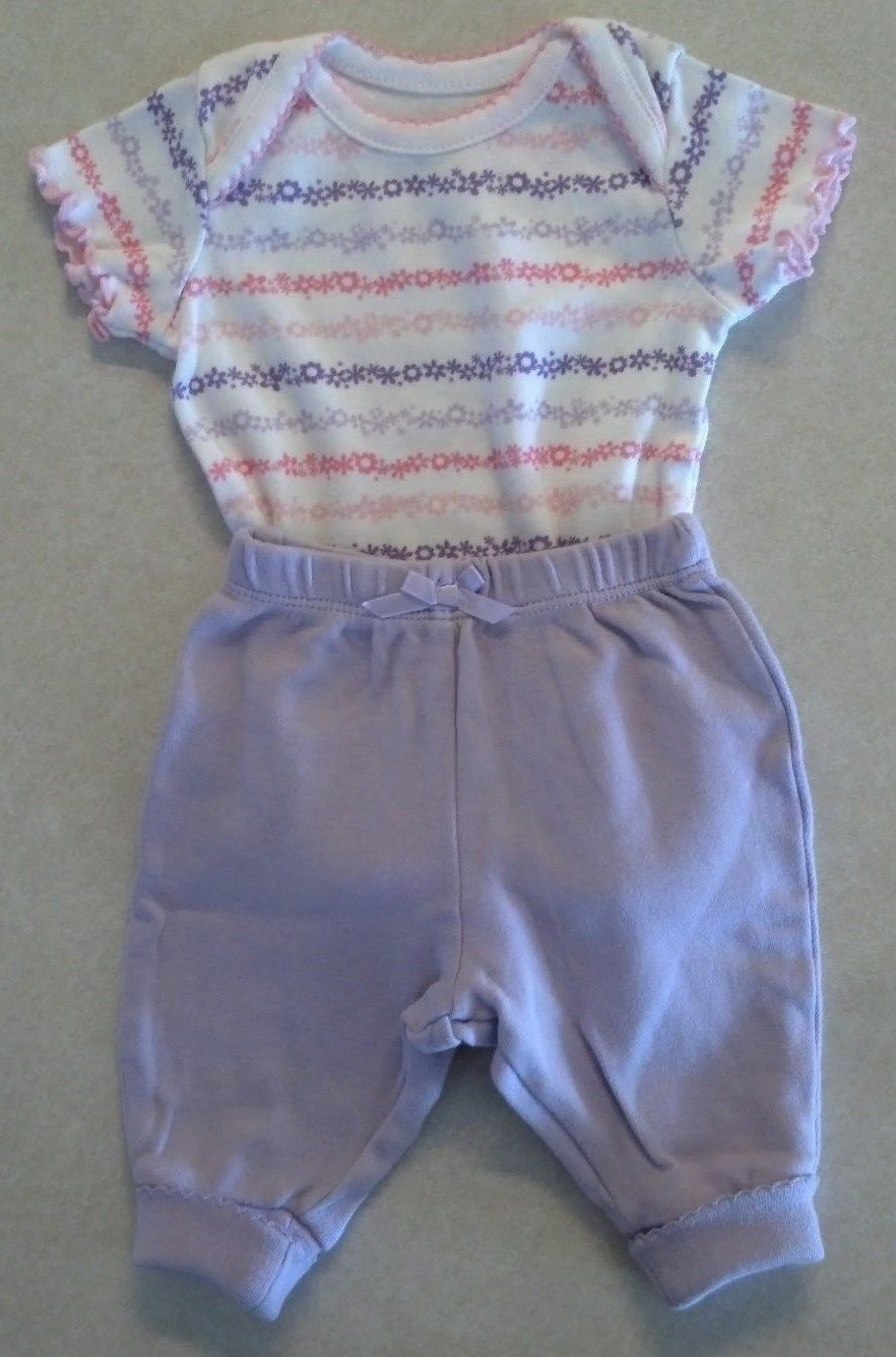 Girl's Size NB Newborn Two Piece Faded Glory White Floral Top +  Purple Pants