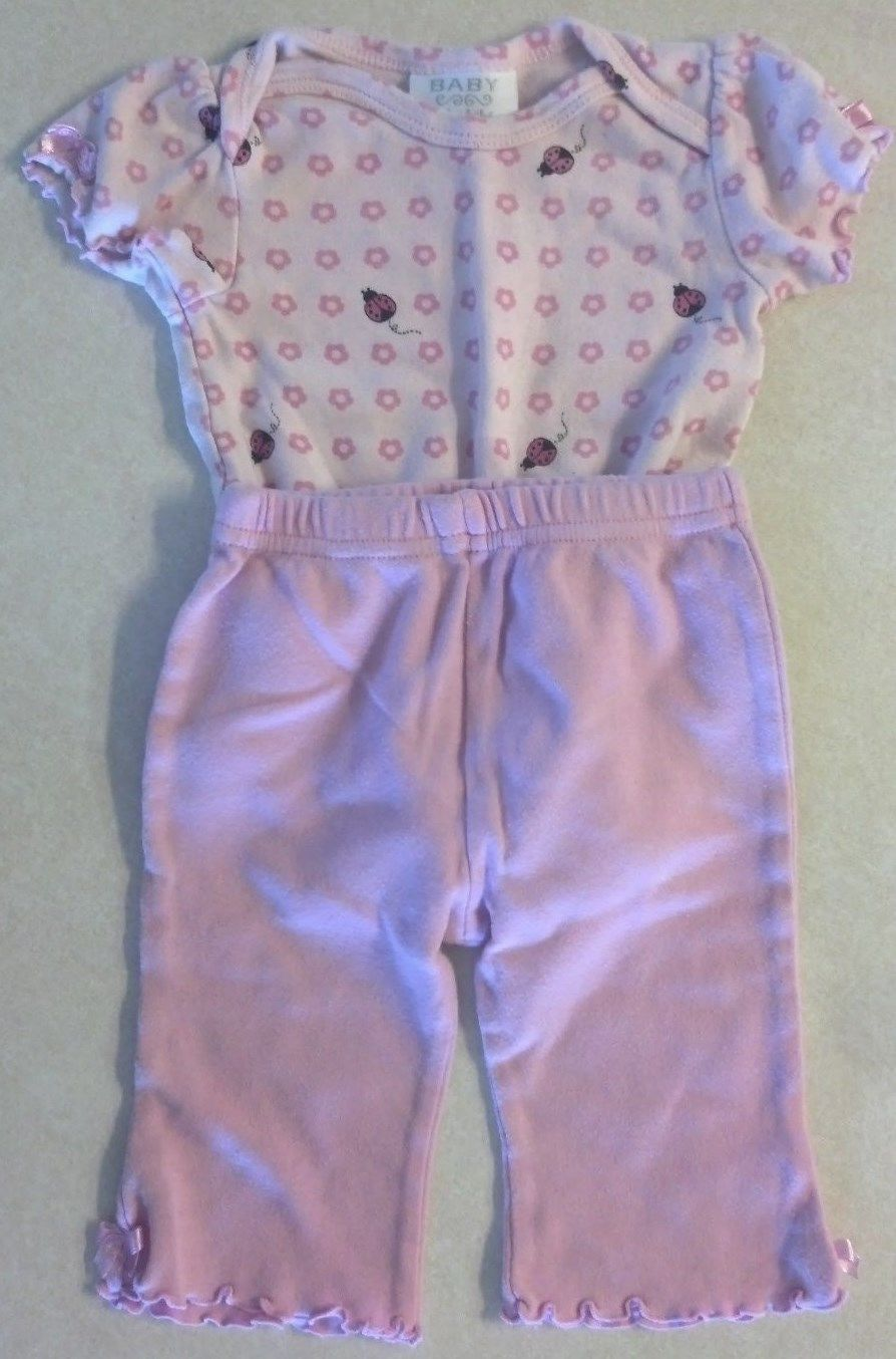 Girl's Sz 3-6 M Month Two Pc Pink Bon Bebe Outfit Lady Bug Designed Top & Pants