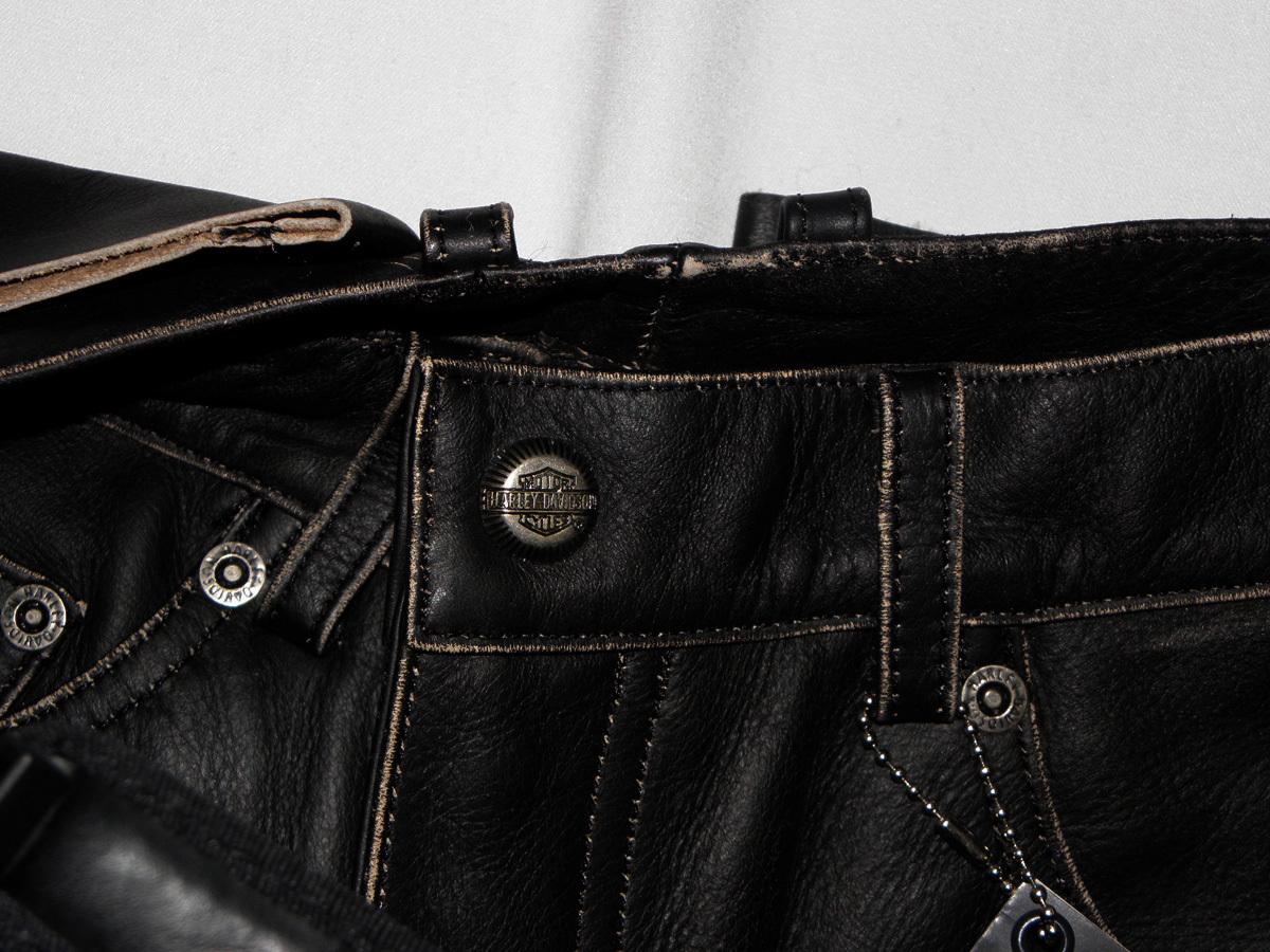 Unisex Hardley-Davidson Solid Black 100% Leather Pants Size:40 Men/12 Women New