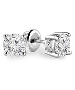1/3 Carats Total Weight Solitaire Diamond Earrings GH/SI1-SI2 14K White ... - $326.32
