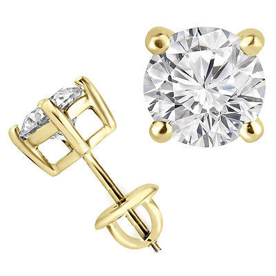 1/3 Carats Total Weight Solitaire Diamond Earrings GH/SI1-SI2 14K White Gold