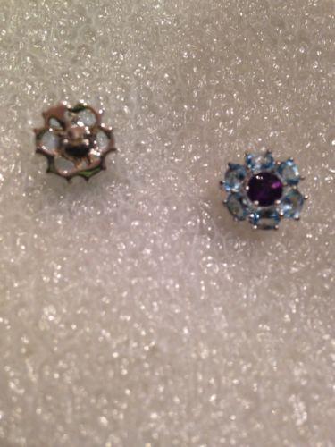 Vintage Filigree Iolite And Blue Topaz 92.5% Sterling Silver Earrings