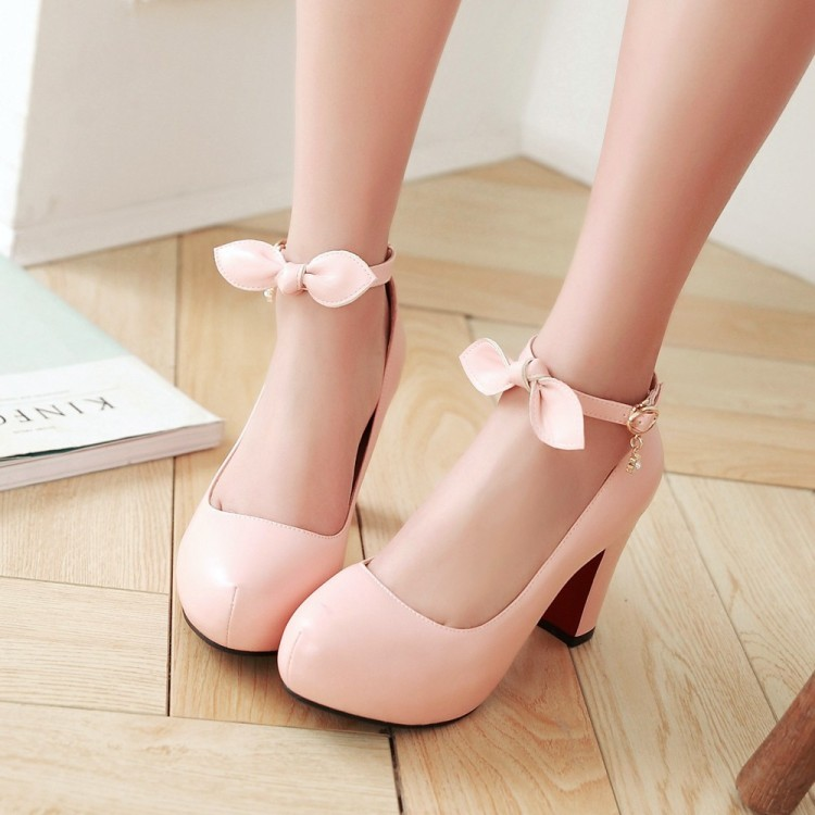 PP062 Sweet thick heel pumps with bow, candy color, size 34-39, apricot