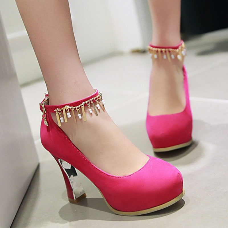 PP063 Sweet metalic fringel pumps, gilded heels, size 34-39, black