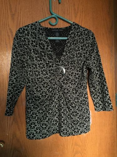 Women's Black And White V Neck Top-Small