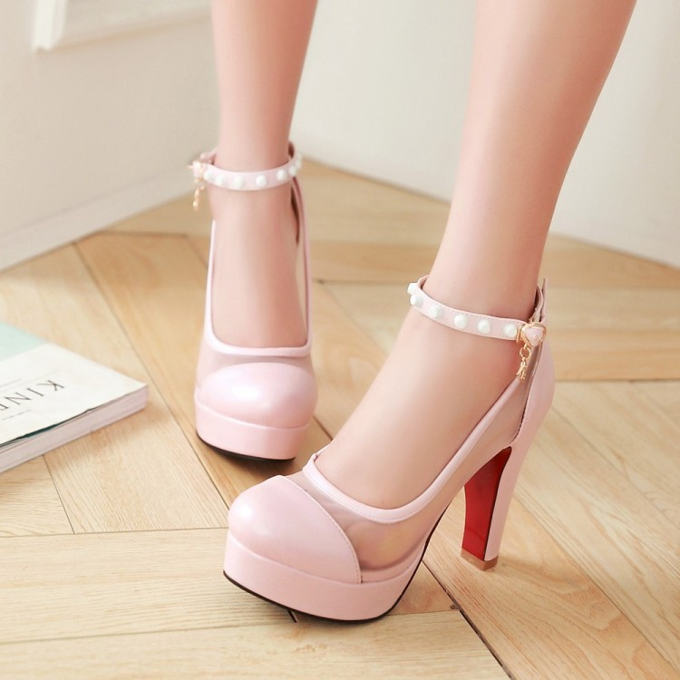PP064 Sweet mesh ankle pumps, thick heels, size 34-43, white