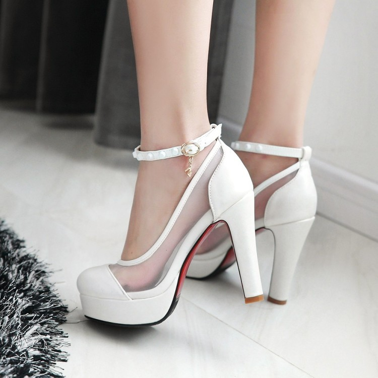 PP064 Sweet mesh ankle pumps, thick heels, size 34-43, black
