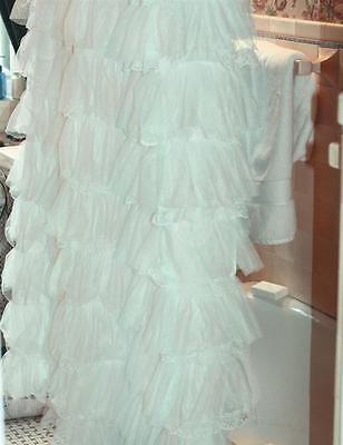 Chic Shabby Organdy Shower Curtain,Retro,Vintage Style,White,72''h.