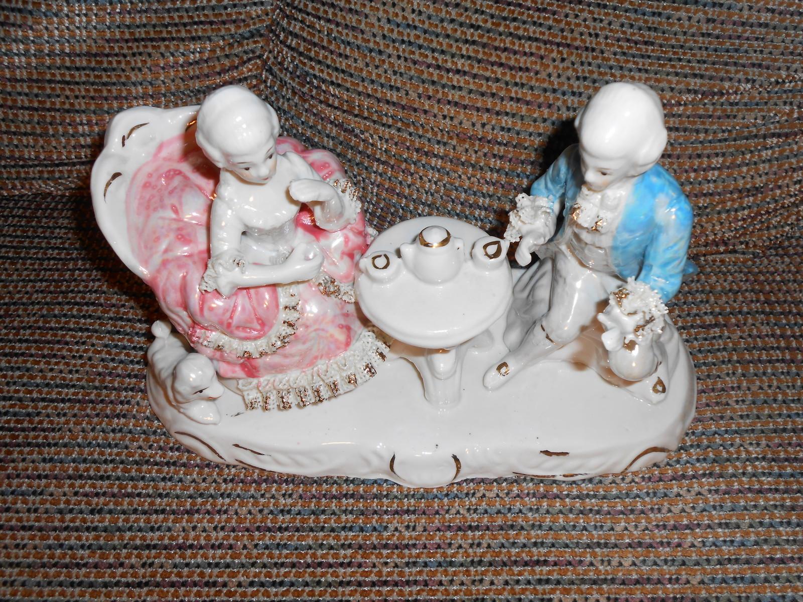 Vintage Tea for Two Large Ceramic Figurine
