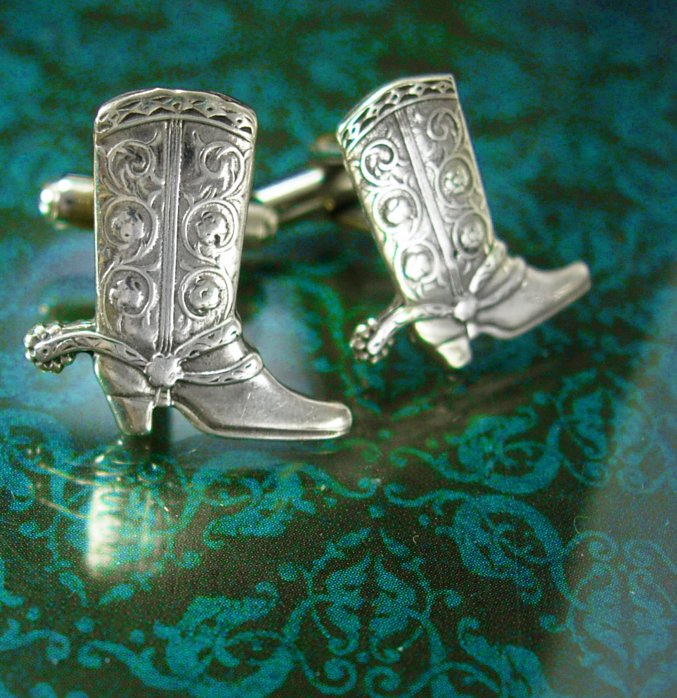 Sterling cufflinks Western Cuff links silver Cowboy Boot  Vintage turquoise Gem