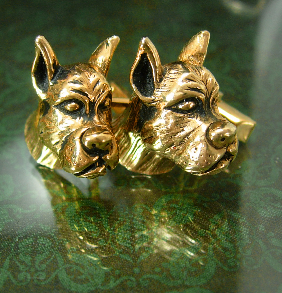 Vintage Swank great dane cufflinks Dog Breeder Animal Lover boxer mens cool gift