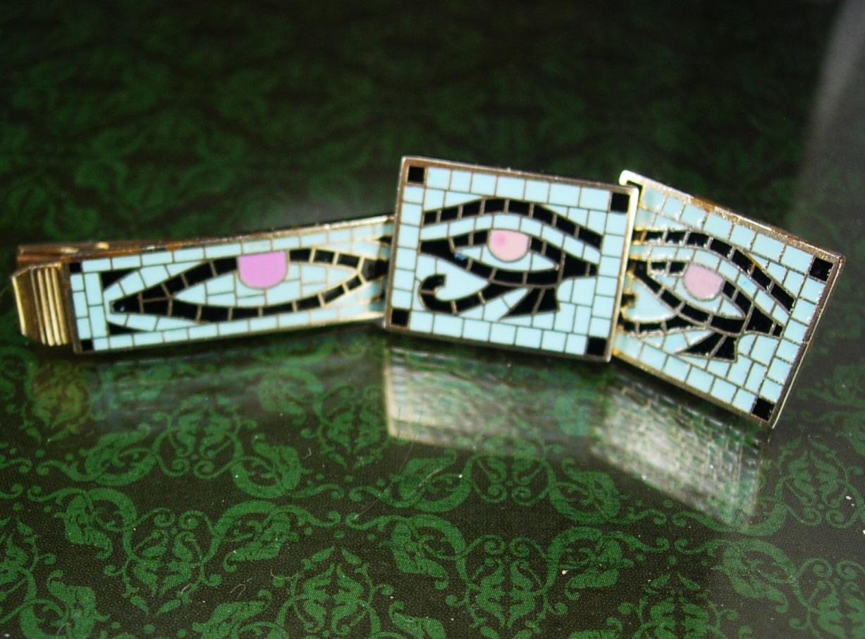 Egypt cuff links Tie clip Cleopatra mosiac enamel Gold Eye of Horus Vintage Egyp