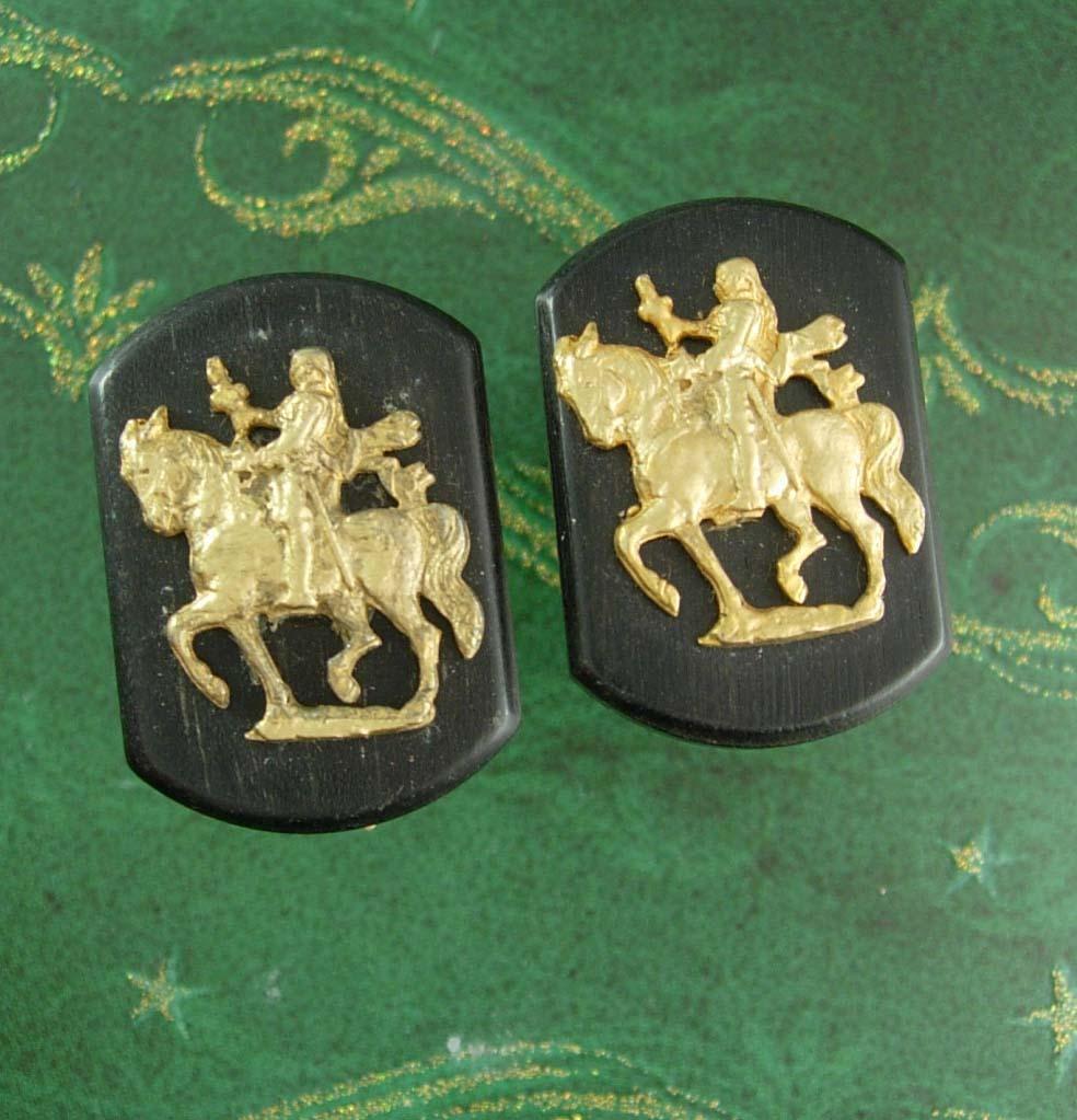Medieval Knight Cufflinks wood vintage Cuff links renaissance revival patent 247