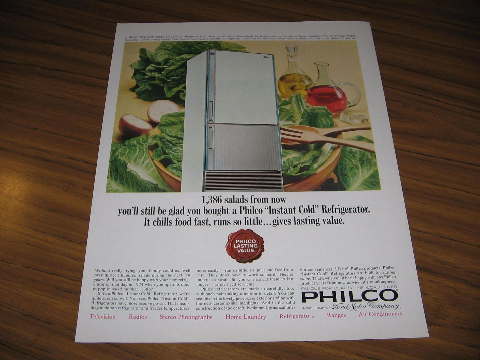 1964 Print Ad Philco Instant Cold Refrigerators Model 17 RM 48