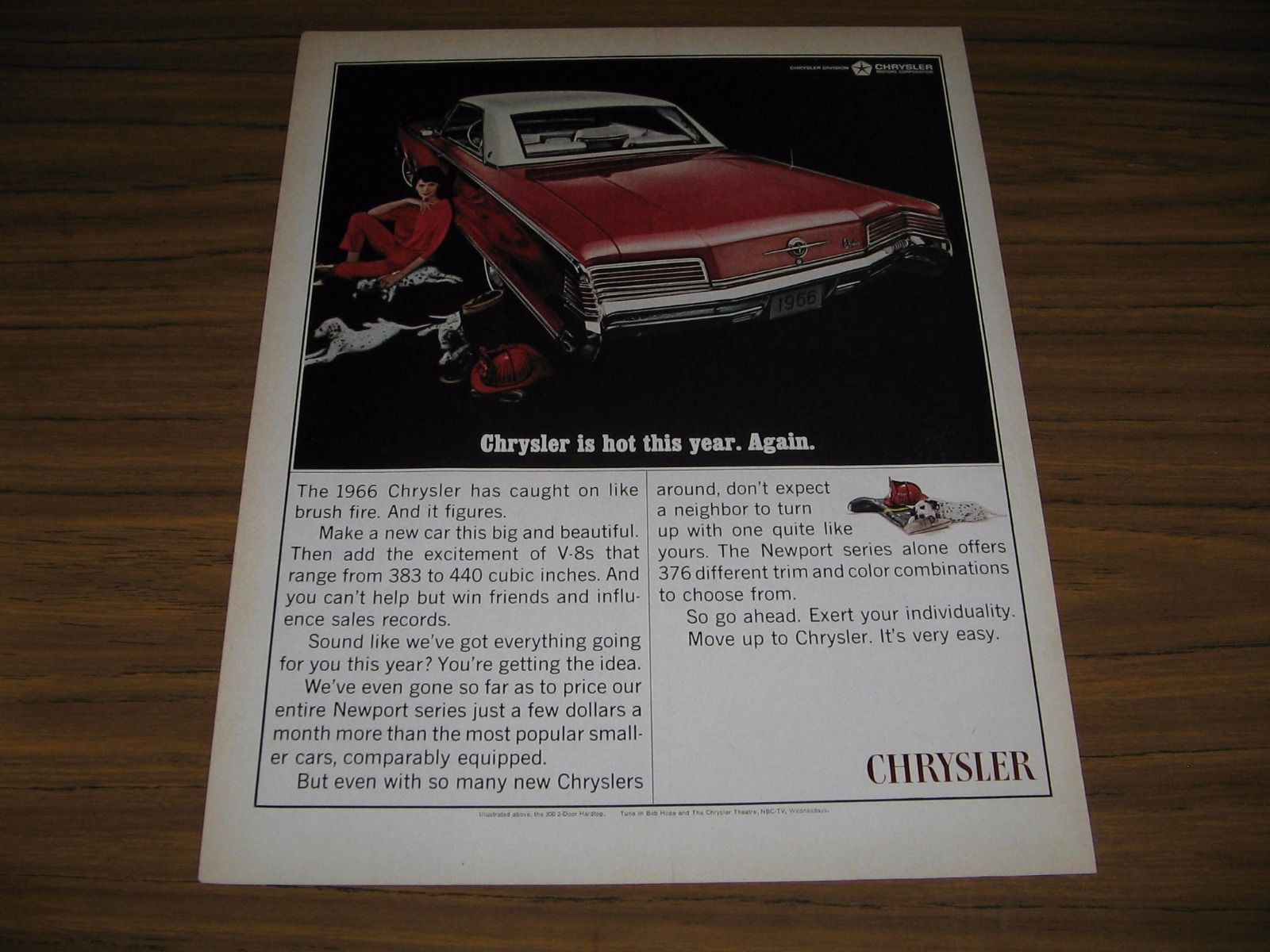 1965 Print Ad The 1966 Chrysler 300 2-Door Hardtop Red with White Top