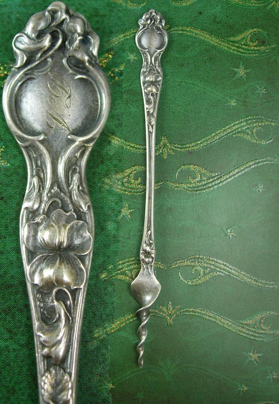Antique Sterling Butterpick RW&S ladies perfume medicine necessaire silver flatw