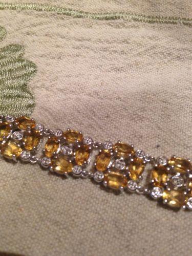 Art Deco Vintage Mosaic Citrine Sterling Silver Rhodium Bracelet