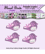 Printable Birds Embellishments Tags 8 1/2 x 11 ... - $1.00