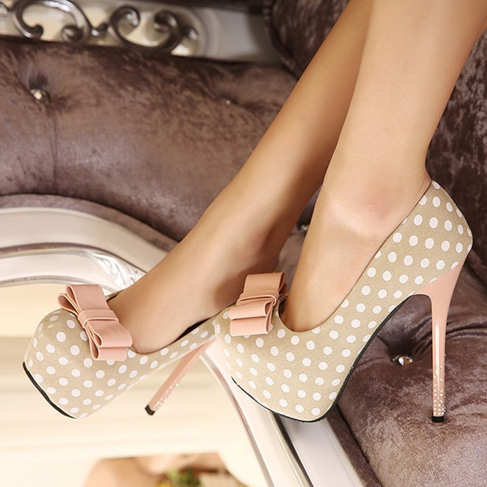 PP066 Sweet spot pumps with bow & color heels, size 34-39, apricot/white