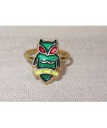 Vintage Owl Child's Ring Green Red Yellow - $10.51