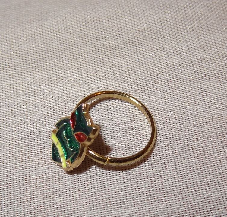 Vintage Owl Child's Ring Green Red Yellow