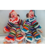 Hand Knit Colorful Lot of Two Clowns Handmade - $39.99