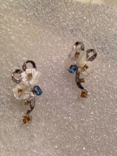 Vintage Mother of Pearl Rose gemstones Antique Sterling Silver Stud Earrings